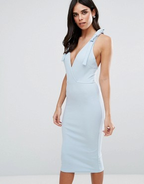 photo Wrap Midi Dress with Strap Back by Oh My Love, color Dusky Blue - Image 2