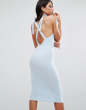 photo Wrap Midi Dress with Strap Back by Oh My Love, color Dusky Blue - Image 1