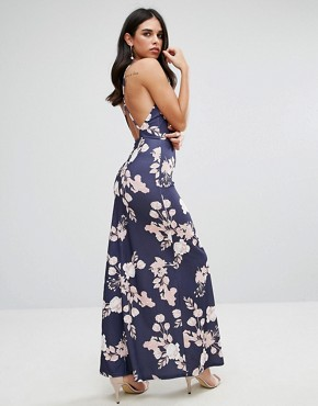 photo Maxi Dress with Open Back in Floral Print by Oh My Love, color Rose Bouquet Print - Image 1