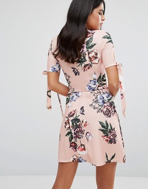 photo Plunge Tea Dress with Tie Sleeves in Floral Print by Oh My Love, color Pink Vintage Floral - Image 2