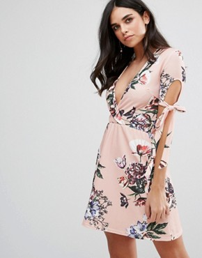 photo Plunge Tea Dress with Tie Sleeves in Floral Print by Oh My Love, color Pink Vintage Floral - Image 1