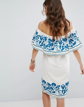 photo Boho Off The Shoulder Dress with Embroidery by Maison Scotch, color White - Image 2