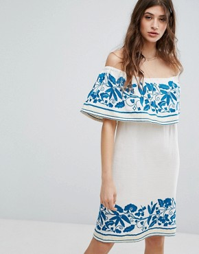 photo Boho Off The Shoulder Dress with Embroidery by Maison Scotch, color White - Image 1