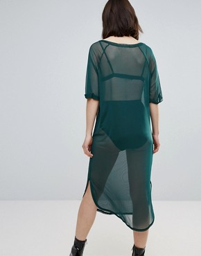 photo Theory Oversized Mesh Midi Dress by TWIIN, color Bottle Green - Image 2