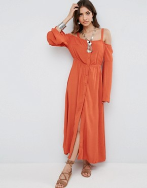 photo Endless Trail Cold Shoulder Festival Maxi Dress by Somedays Lovin, color Terracotta - Image 2