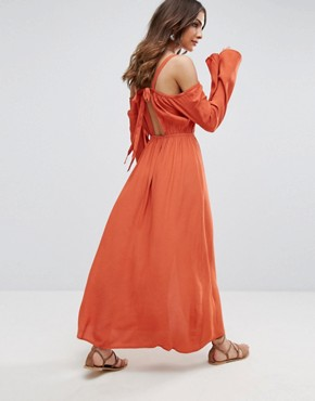 photo Endless Trail Cold Shoulder Festival Maxi Dress by Somedays Lovin, color Terracotta - Image 1