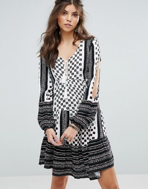 photo Nightcall Festival Tiered Tunic Dress with Sleeve Detail by Somedays Lovin, color Multi - Image 1