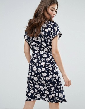 photo Floral Kimono Wrap Front Dress by Trollied Dolly, color Navy - Image 2