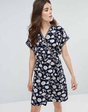 photo Floral Kimono Wrap Front Dress by Trollied Dolly, color Navy - Image 1