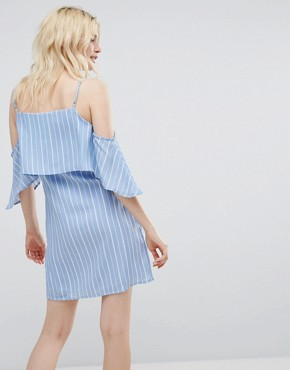 photo Unknown Cold Shoulder Dress by A State Of Being, color Blue/White - Image 2