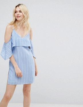 photo Unknown Cold Shoulder Dress by A State Of Being, color Blue/White - Image 1
