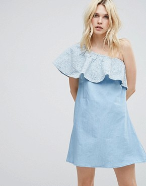 photo Gale One Shoulder Frilll Dress by A State Of Being, color Chambray - Image 1