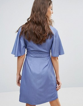 photo Embrace Wrap Dress by A State Of Being, color Chambray - Image 2