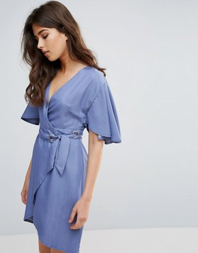 photo Embrace Wrap Dress by A State Of Being, color Chambray - Image 1