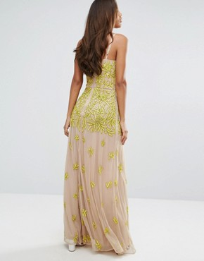 photo Allover Embellished Corset Top Maxi Dress by Maya Tall, color Yellow - Image 2