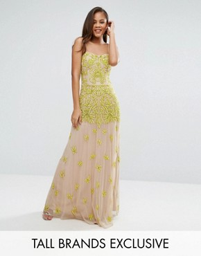 photo Allover Embellished Corset Top Maxi Dress by Maya Tall, color Yellow - Image 1