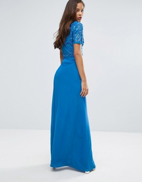 photo Allover Sequin Top Maxi Dress with Thigh Split by Maya Tall, color Colbalt - Image 2