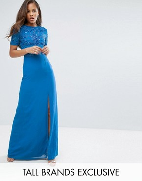 photo Allover Sequin Top Maxi Dress with Thigh Split by Maya Tall, color Colbalt - Image 1