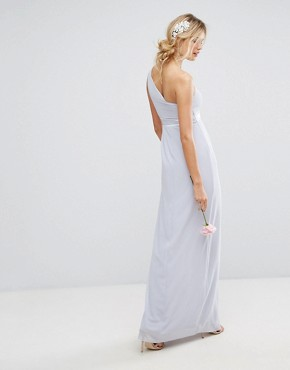 photo One Shoulder Maxi Dress with Frill Detail by TFNC Tall, color Blue - Image 2