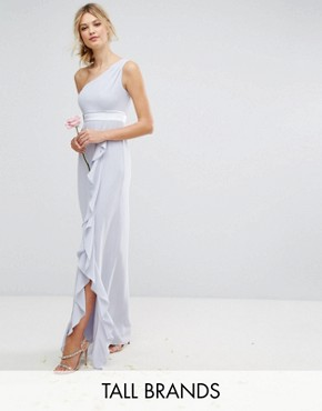photo One Shoulder Maxi Dress with Frill Detail by TFNC Tall, color Blue - Image 1