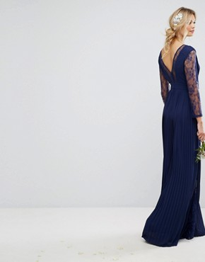 photo Pleated Maxi Dress with Long Sleeves and Lace Inserts with Embellished Waist by TFNC Tall, color Navy - Image 2