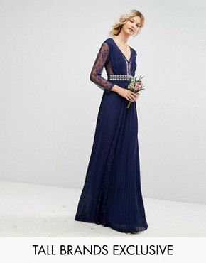 photo Pleated Maxi Dress with Long Sleeves and Lace Inserts with Embellished Waist by TFNC Tall, color Navy - Image 1