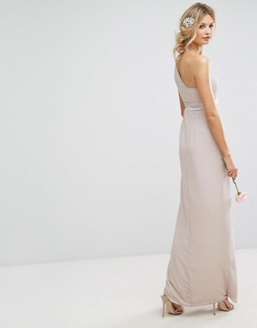 photo One Shoulder Maxi Dress with Frill Detail by TFNC Tall, color Mink - Image 2