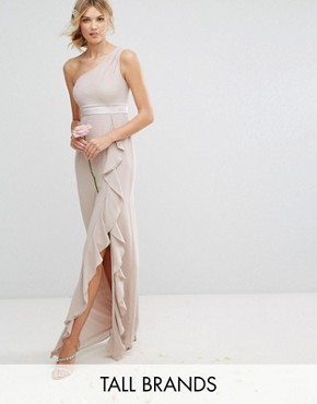 photo One Shoulder Maxi Dress with Frill Detail by TFNC Tall, color Mink - Image 1
