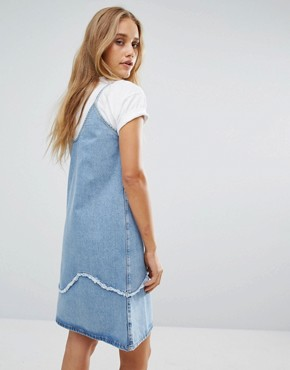 photo Strappy Denim Dress with Fray Detail by MiH Jeans, color Blue - Image 2