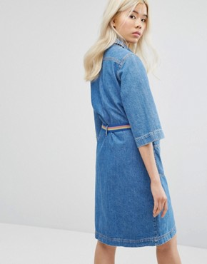 photo Lola Denim Button Through Dress with Belt by MiH Jeans, color Pure Pur - Image 2