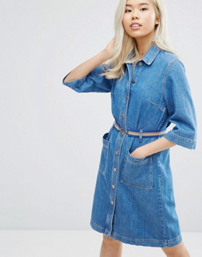 photo Lola Denim Button Through Dress with Belt by MiH Jeans, color Pure Pur - Image 1