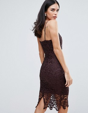 photo Lace Midi Bodycon Dress by AX Paris, color Plum - Image 2