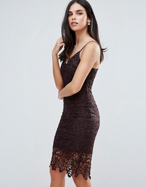photo Lace Midi Bodycon Dress by AX Paris, color Plum - Image 1