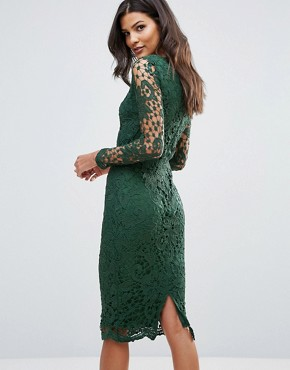 photo Lace Midi Bodycon Dress by AX Paris, color Green - Image 2