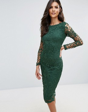 photo Lace Midi Bodycon Dress by AX Paris, color Green - Image 1