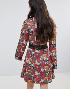 photo Floral Print Skater Dress with Lace Detail by Daisy Street, color Multi Floral - Image 2