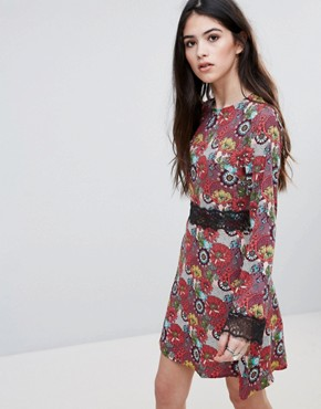 photo Floral Print Skater Dress with Lace Detail by Daisy Street, color Multi Floral - Image 1