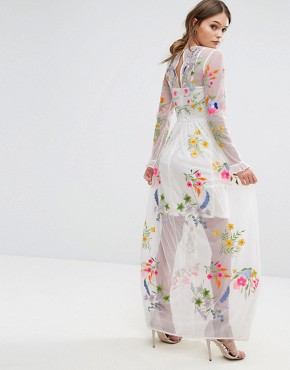 photo Embroidered Maxi Dress with Tie Waist by Frock and Frill, color White Multi - Image 2