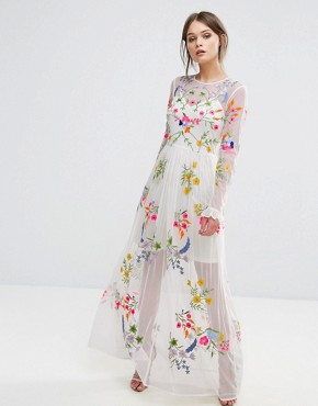 photo Embroidered Maxi Dress with Tie Waist by Frock and Frill, color White Multi - Image 1
