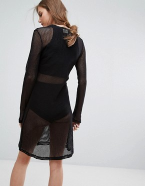 photo Open Knit Bodycon Dress by Weekday, color Black - Image 2