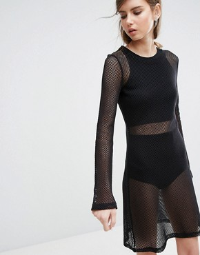 photo Open Knit Bodycon Dress by Weekday, color Black - Image 1