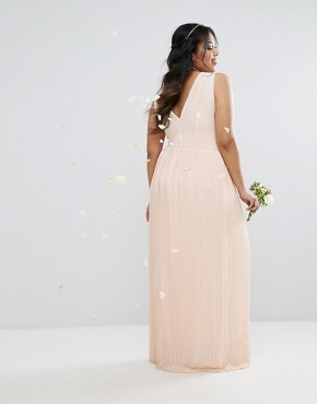 photo Pleated Maxi Dress with Embellished Shoulder by TFNC Plus WEDDING, color Deborah Nude - Image 2