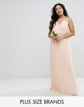photo Pleated Maxi Dress with Embellished Shoulder by TFNC Plus WEDDING, color Deborah Nude - Image 1