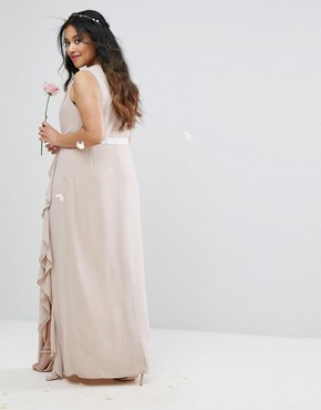 photo Embellished Maxi Dress with Frill Detail by TFNC Plus WEDDING, color Wisper Pink - Image 2