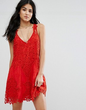 photo Victorian Lace Mini Dress by Free People, color Red - Image 1
