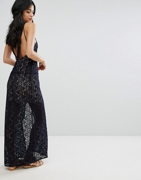 photo Lace Column Maxi Party Dress by Free People, color Deep Indigo - Image 2