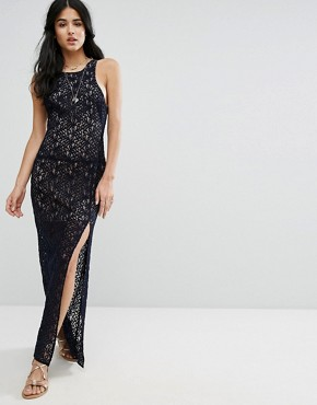 photo Lace Column Maxi Party Dress by Free People, color Deep Indigo - Image 1
