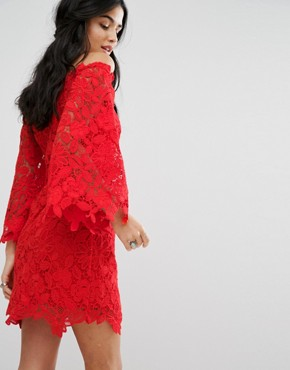 photo Dusk Lace Off Shoulder Occasion Dress by Free People, color Fiesta Red - Image 2