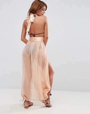 photo Beach Satin Halter Maxi Dress with Sheer Skirt by ASOS, color Mink - Image 2