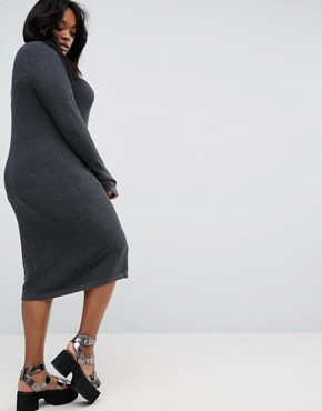 photo Chunky Knit Midi Dress with Rib Panel by ASOS CURVE, color Charcoal Marl - Image 2